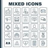 Knyta kontakt fastställda symboler Samling av megafonen, telefonMessaging, Team Organisation And Other Elements Inkluderar också  vektor illustrationer