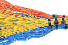 Knyta kontakt kablar, överföring av data i telekommunikationer Arkivbilder