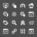 Knyta kontakt och sök uppsättningen för motoroptimizationsymbolen, vektorn eps10 Arkivbilder
