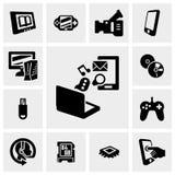 Knyta kontakt teknologivektorsymboler ställer in på grå färger royaltyfri illustrationer