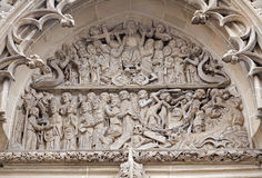 Košice - Relief of Last judgment scene from north portal Stock Photos