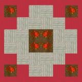 Kołdrowy projekt n 6, kolaż dla kołderki, czerwień i beż z kwiecistym, Fotografia Royalty Free