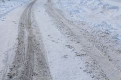 Koło ślada w śniegu Obraz Royalty Free