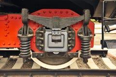 Koło stary parowej lokomotywy zakończenie up. Obraz Royalty Free