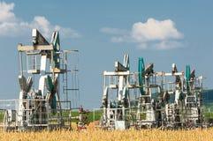Kołysa olej dzień Czerwiec Kazakhstan miesiąc olej pompuje western Przemysł paliwowy equipment Styczeń 33c krajobrazu Rosji zima  Zdjęcie Stock