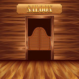 Kołyszący drzwi bar, zachodni tło ilustracja wektor