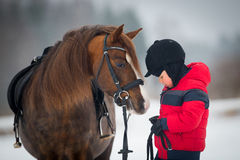 Koń i chłopiec - dziecko jeździecki horseback Obraz Stock