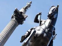 Koń i Nelson statua fotografia stock
