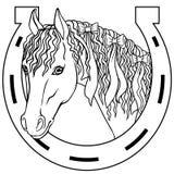 Koń - konturu rysunku kolorystyki książka, szczęście urok ilustracji