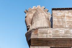 Koń trojański w antycznym mieście Troja obraz stock