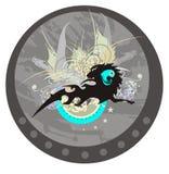 Koń z lwami przewodzi - abstrakcjonistycznego okrąg Zdjęcia Royalty Free