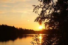 Końcówka dzień na finnish jeziorze Zdjęcie Royalty Free