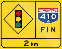Końcówka Quebec autostrada - światła ruchu Obraz Royalty Free