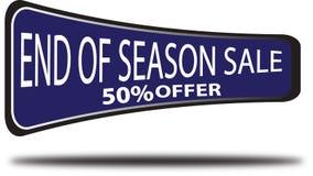 Końcówka sezon sprzedaży 50% oferty sieci guzika bielu kolorowy tło royalty ilustracja