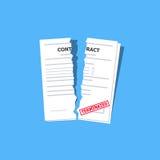 Kończący kontrakt na błękitnym tle z czerwień znaczkiem Płaski projekt również zwrócić corel ilustracji wektora Zdjęcie Stock