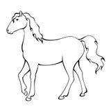 Końska czarna biała odosobniona ilustracja Obrazy Stock