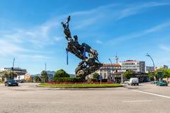 Końska rzeźba w Hiszpania kwadracie Plac De Espana Vigo miasto, Fotografia Stock
