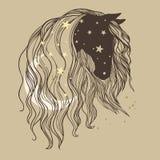 Końska ` s głowa z długą kędzierzawą grzywą, księżyc i gwiazdami, Obrazy Stock