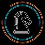 Końska Szachowa Wektorowa ikona Szachowej gry koń royalty ilustracja
