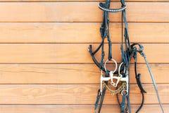 Końska uzda z dekoraci obwieszeniem na niewywrotnej drewnianej ścianie clos zdjęcie royalty free