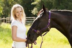 Koński jeździec i koń fotografia royalty free