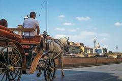 Koński kareciany Florencja Włochy Obrazy Stock