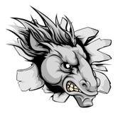 Koński maskotki łamanie przez ściany royalty ilustracja