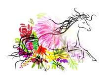 Koński nakreślenie z kwiecistą dekoracją dla twój Zdjęcie Royalty Free