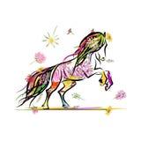 Koński nakreślenie z kwiecistą dekoracją dla twój Zdjęcia Stock