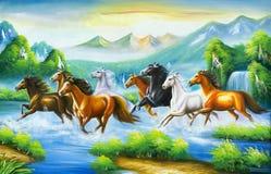 Koński obraz według orientalnej kultury, ilustracja wektor