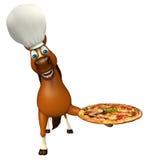 Koński postać z kreskówki z szef kuchni pizzą i kapeluszem Obraz Stock