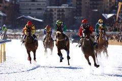 końskie wyścigi śnieg Obraz Royalty Free
