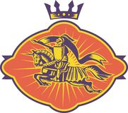 końskiej rycerza lancy retro jazda Obrazy Royalty Free