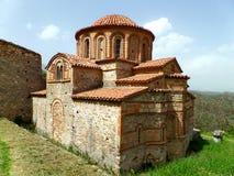 Kościół Agioi Theodoroi, Unikalny Bizantyjski kościół w Archeologicznym miejscu Mystras, Grecja Obraz Stock