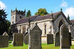 Kościół i gravestones, woda zdjęcia royalty free