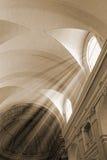 Kościół i słońca promień zdjęcia royalty free