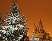 Kościół i sosna Zdjęcie Royalty Free