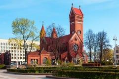 Kościół Katolicki St Simeon i St Helena w Minsk, republika Białoruś zdjęcia stock