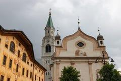 Kościół Katolicki w Cortina d'Ampezzo, Włochy zdjęcie royalty free