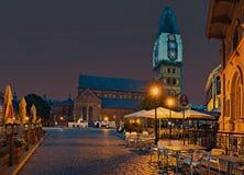 Kościół kopuła przy nocą, Ryski, Latvia Obraz Stock
