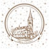 Kościół królowa Luisa, Luizenvahl Punkt zwrotny Kaliningrad, Rosja, Wektorowy Bożenarodzeniowy kartka z pozdrowieniami z symbolem ilustracja wektor