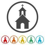 Kościół na białym tle - ilustracja, 6 kolorów Zawierać royalty ilustracja
