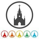 Kościół na białym tle - ilustracja, 6 kolorów Zawierać ilustracji