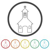 Kościół na białym tle - ilustracja, 6 kolorów Zawierać ilustracja wektor