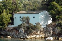 Kościół na wyspie w Ionian morzu, Grecja Zdjęcia Stock