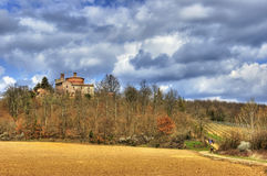 Kościół na zboczu Tuscany Zdjęcia Royalty Free