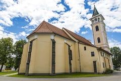 Kościół narodziny Nasz dama w Michalovce, Sistani Zdjęcia Stock