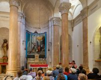 Kościół narzucenie krzyż lokalizować w Muzułmańskiej ćwiartce Stary miasto Jerozolima i potępienie, Izrael obraz stock
