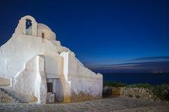 Kościół Paraportiani przy błękitną godziną, Mykonos, Grecja Zdjęcia Stock