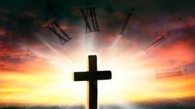 Kościół przeciw tłu niebo Dom modlitwa obraz stock